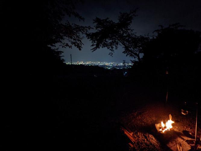 夜景+焚き火=サイコー